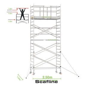 7.20m werkhoogte x 135cm breedte x 250cm platformlengte