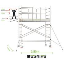 Professionele rolsteiger 4.20m werkhoogte x 135cm breedte x 250cm platformlengte