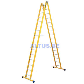 Dubbele GVK ladder 2x16 alu sporten met stabibalk
