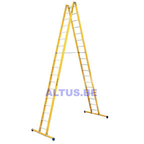 Dubbele GVK ladder 2x18 alu sporten met stabibalk