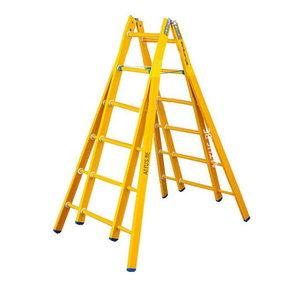 Dubbele GVK ladder 2x6 sporten verbrede basis opengaande bomen