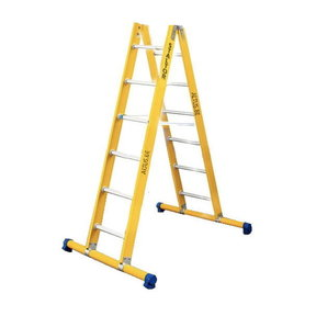 Dubbele GVK ladder 2x6 alu sporten met stabibalk
