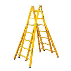Dubbele GVK ladder 2x7 sporten verbrede basis opengaande bomen