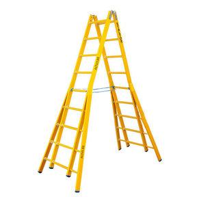 Dubbele GVK ladder 2x9 sporten verbrede basis opengaande bomen