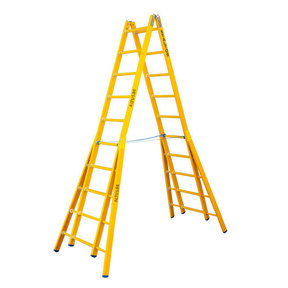 Dubbele GVK ladder 2x10 sporten verbrede basis opengaande bomen