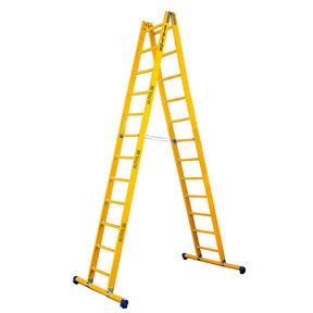 Dubbele GVK ladder 2x12 sporten met stabibalk