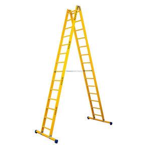 Dubbele GVK ladder 2x14 sporten met stabibalk