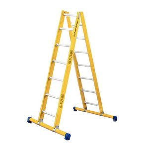 Dubbele GVK ladder 2x7 alu sporten met stabibalk