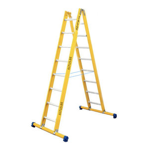 Dubbele GVK ladder 2x8 alu sporten met stabibalk