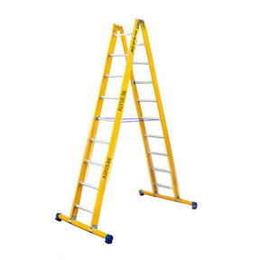 Dubbele GVK ladder 2x9 alu sporten met stabibalk