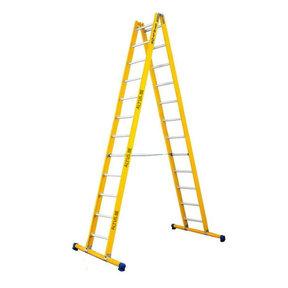 Dubbele GVK ladder 2x12 alu sporten met stabibalk