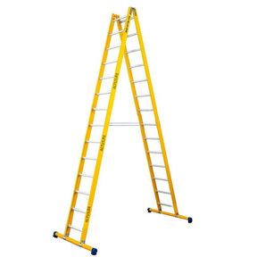 Dubbele GVK ladder 2x14 alu sporten met stabibalk