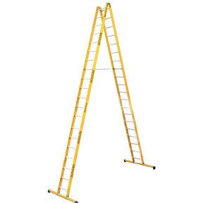 Dubbele GVK ladder 2x20 alu sporten met stabibalk