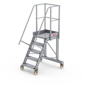 Bordestrap onder hoek 60° met 4 wielen 5 treden