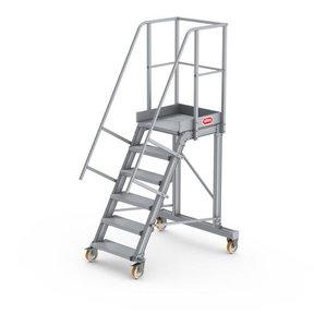Bordestrap onder hoek 60° met 4 wielen 6 treden