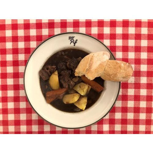 Bar Pif oxtail stew, chestnut, carrot + bread