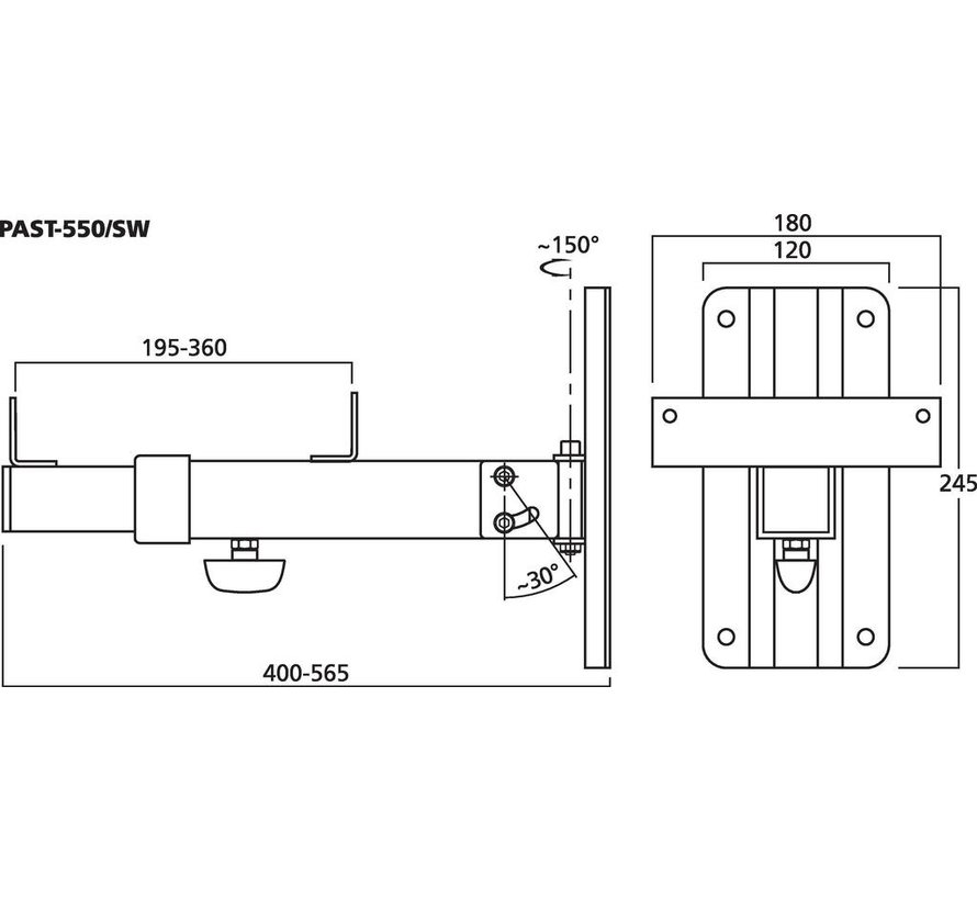 PAST-550/SW Wall Bracket For Speaker Systems