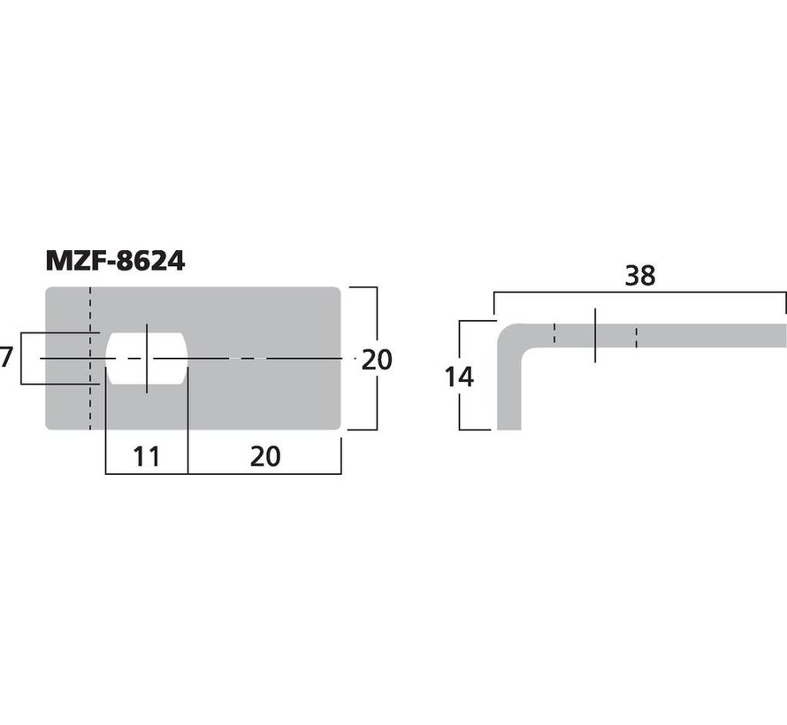 MZF-8624 Fixing Clamp For Speaker Grilles | Drill Hole Size 7x11 mm | 38 x 20 x 14 mm
