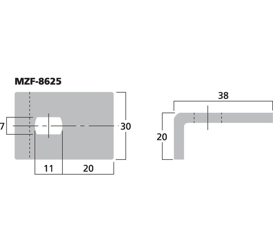 MZF-8625 Fixing Clamp For Speaker Grilles | Drill Hole Size 7x11 mm | 38 x 30 x 20 mm