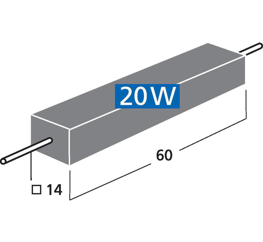 LSR-470/20 | 47 Ω | 20 W | 5% | High-Power Cement Resistor