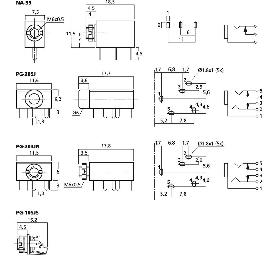 PG-203JN 3.5 mm Panel Jack