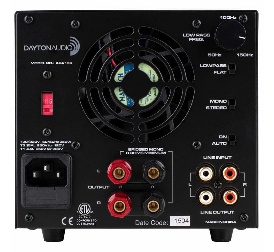 dayton audio apa150 150w power amplifier your favorite one stop shop for diy audio components. Black Bedroom Furniture Sets. Home Design Ideas