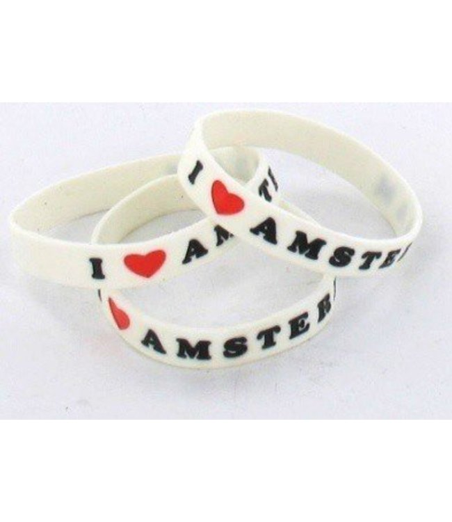 Wristband I love Amsterdam Wit