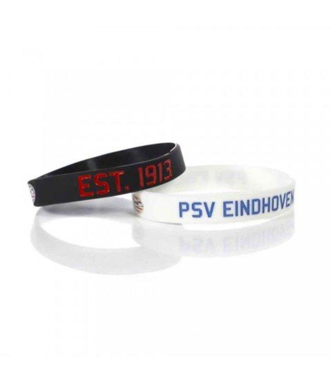 PSV Armband Rubber Blauw Wit set van 2