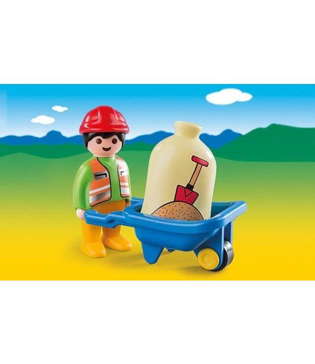 PLAYMOBIL Wegwerker met kruiwagen