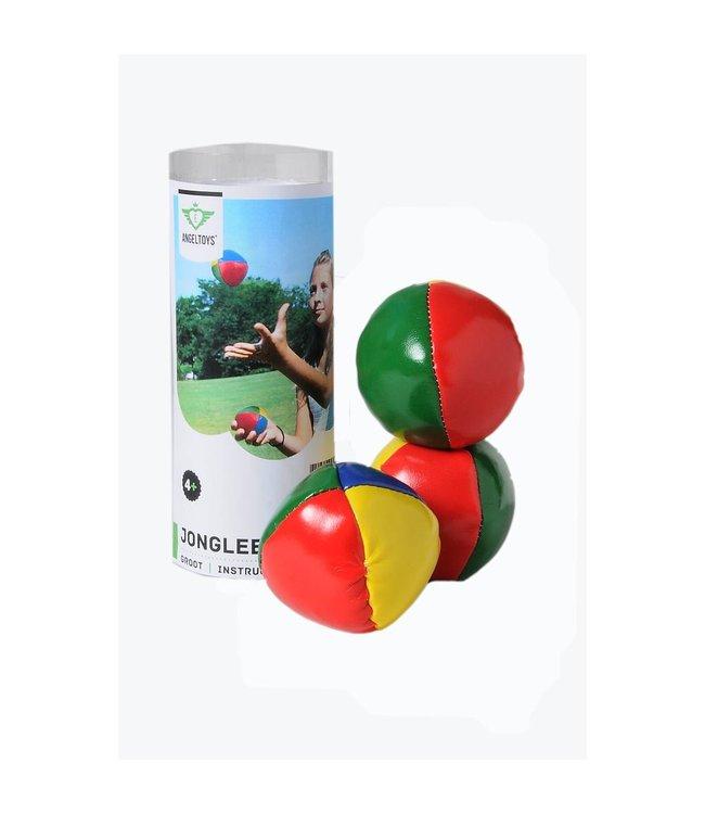 """Jongleer ballen 3 in koker - 2,5"""" groot"""