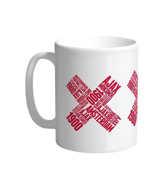 AJAX Beker Wit met 3 Rode Kruizen