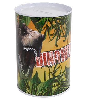 DinoWorld spaarpot metaal 8,5x11,5cm