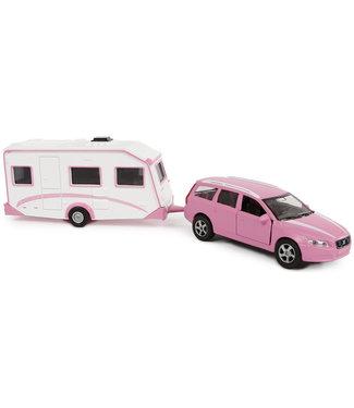 Volvo V70 met caravan die cast pb 30cm roze