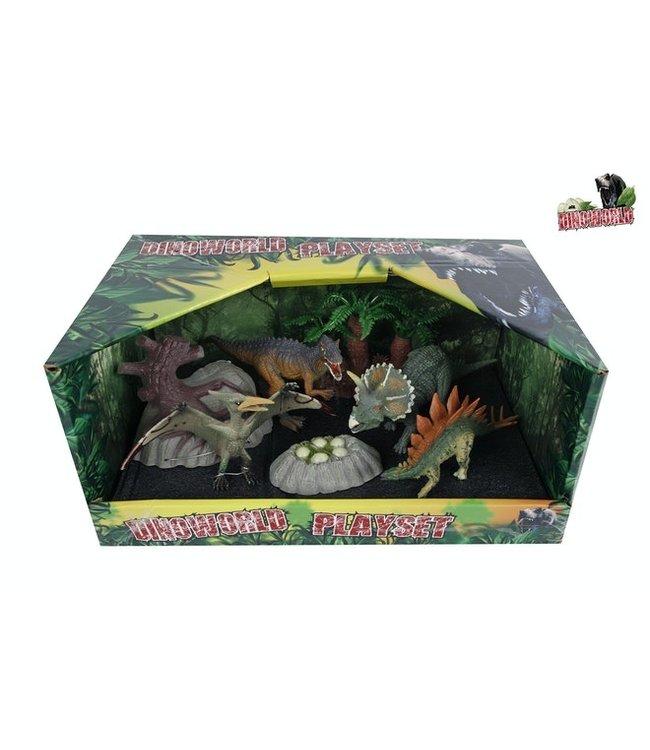 DinoWorld 4 dinosaurussen 13-17cm en 3 accessoires