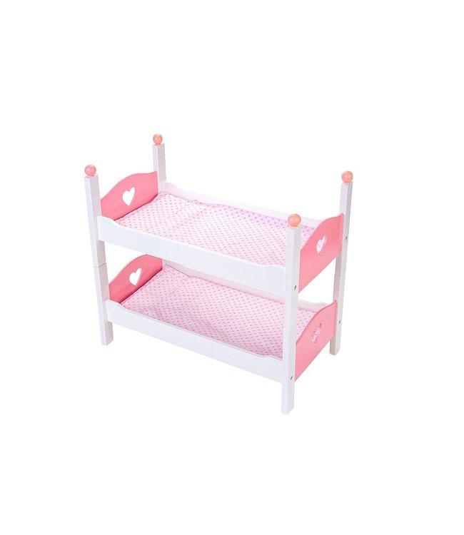 Poppenstapelbed, hout, kleur wit/roze. Afm. 50,5 x 27,5 x m