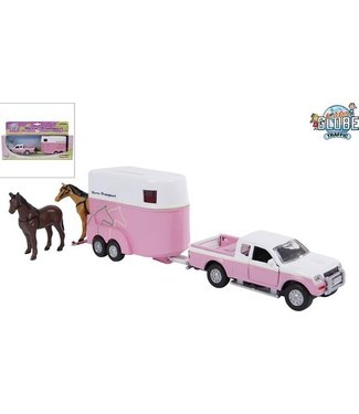 Auto Mitsubishi met paardentrailer die cast roze 27cm