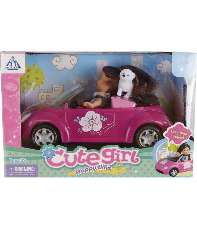 Cute Girl pop 10cm met hond en auto 21cm