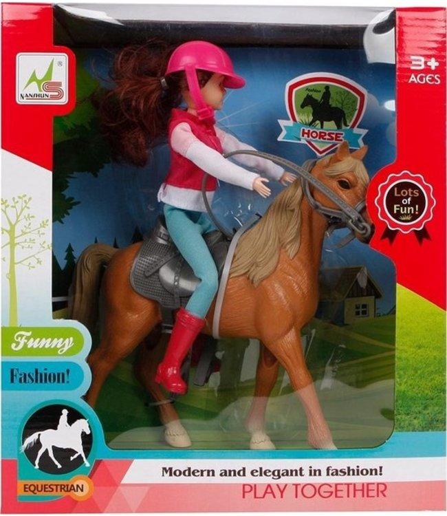 Paard Met Ruiter 21 Cm Roze/bruin 4-delig