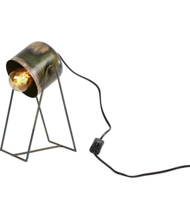 "Tafellamp ""Luca"" oud groen metaal 14x16x29cm"