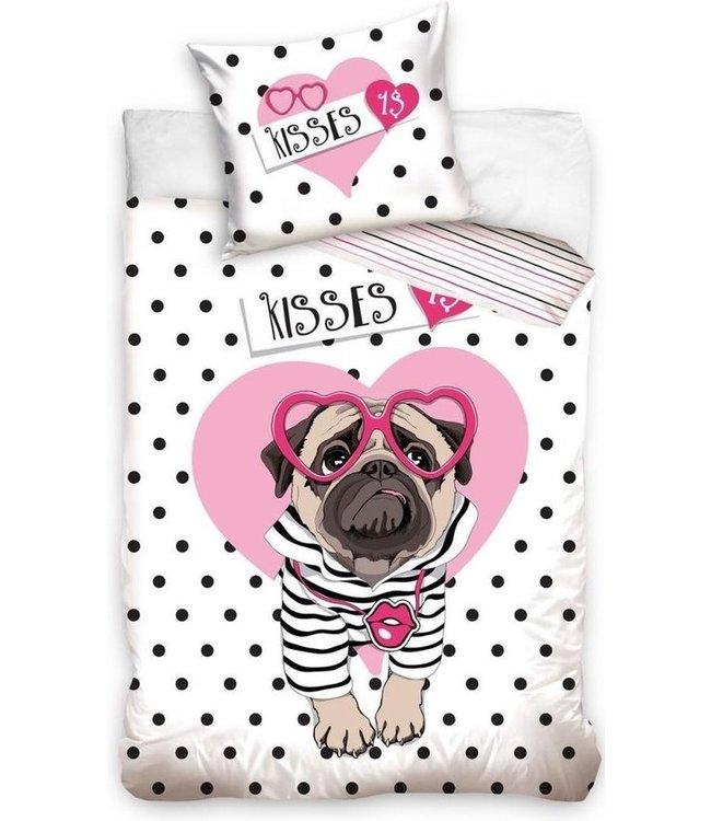 Dekbedovertrek Kisses  Dog 140 X 200 Cm Katoen Wit/roze