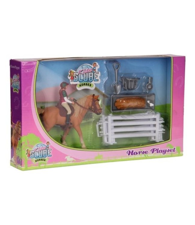 Paard met ruiter en accessoires Speelset Kids Globe