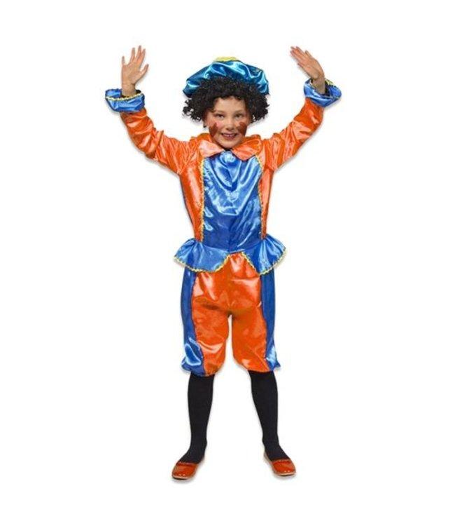 Pietenpak Blauw/Oranje - 3 delig - Maat S - 98/116 - 3-5 jr
