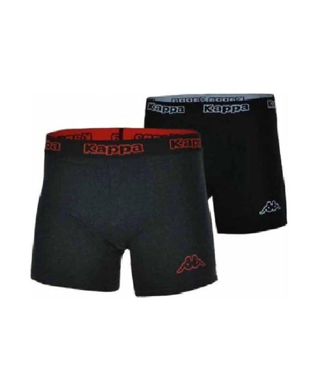 Kappa - Boxer 2 Pack - Zwart-Wit / Antreciet-Rood - Heren