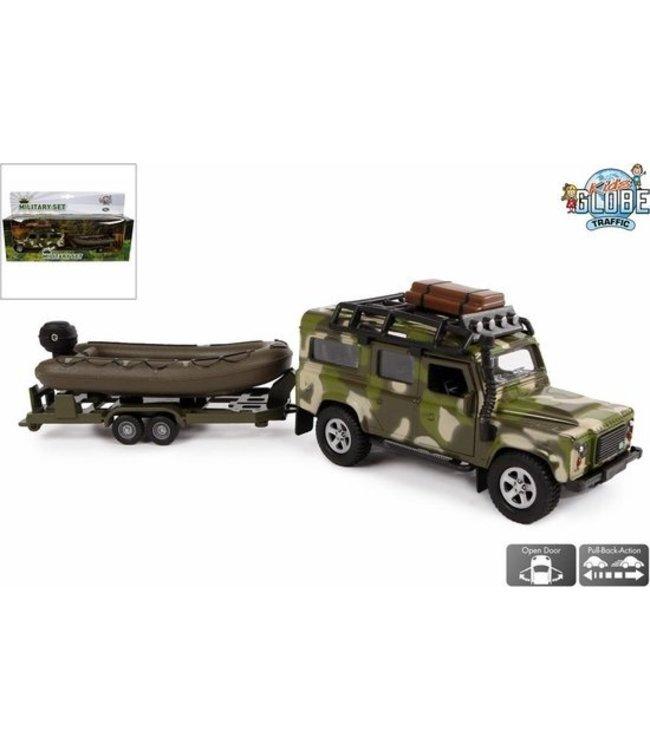Land Rover en aanhanger met boot military: 27 cm Pull Back