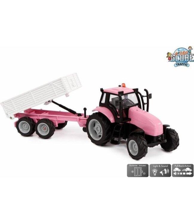 Tractor roze met aanhanger + licht/geluid: 25 cm