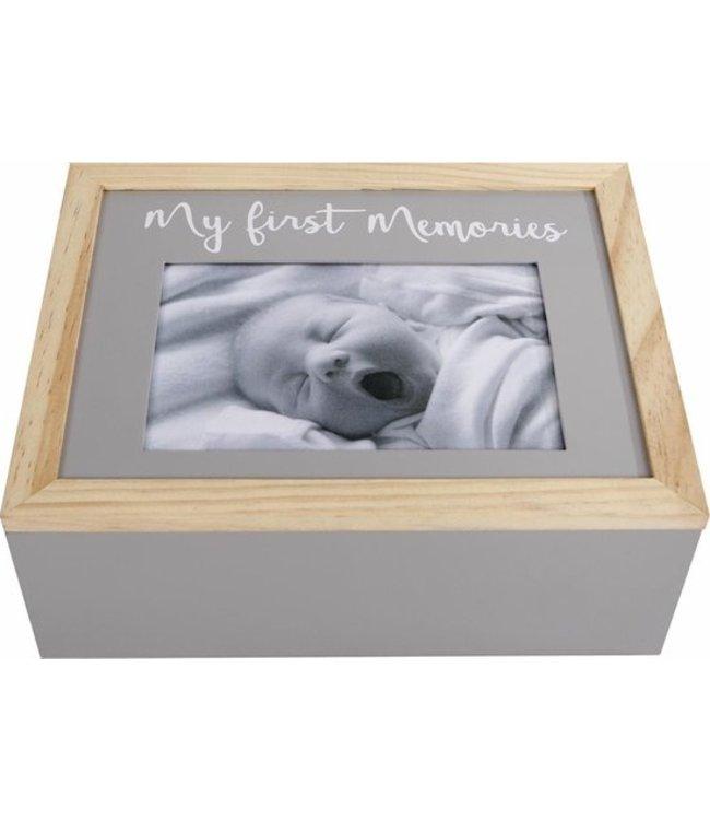 Opbergbox 'my First Memories' 24x19x9 Cm Hout Grijs