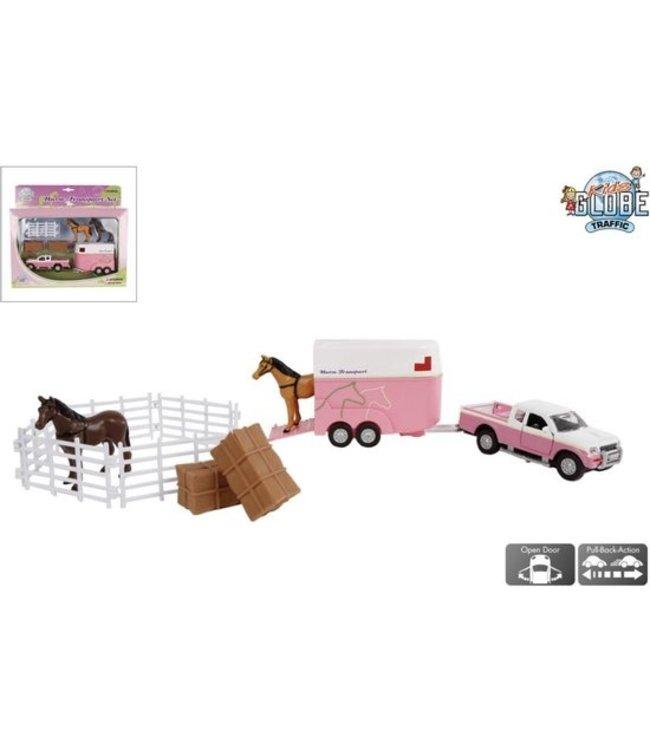 Paardentrailer Mitsubishi + accessoires roze 27 cm