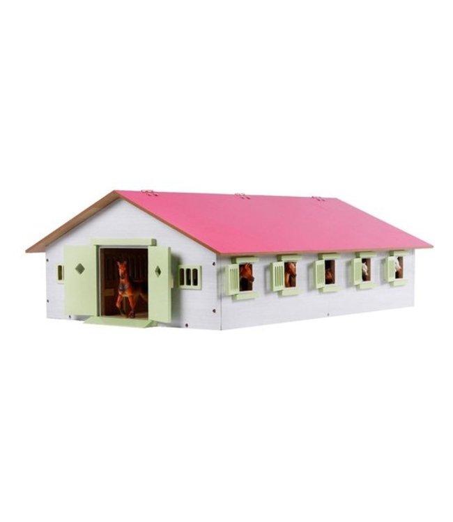Paardenstal met 9 boxen 1:32 62x42,5x22cm roze Kids Globe