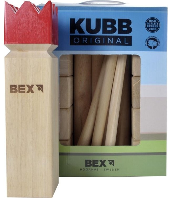 KUBB Original met rode koning Rubberhout