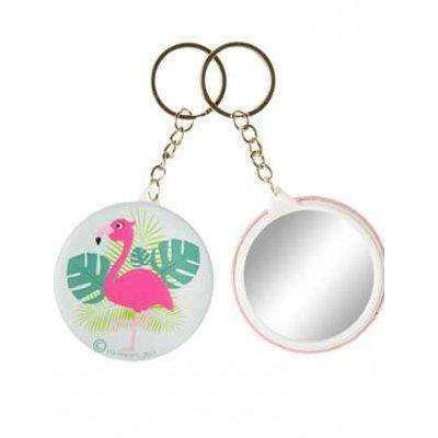 Sleutelhanger flamingo + spiegeltje